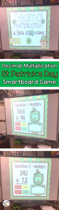 A fun St. Patrick's Day Smartboard game where students practice multiplying numbers with decimals. CCSS aligned. Great for 5th grade.