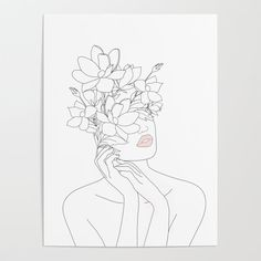 Minimal Line Art Woman with Magnolia Poster by - Banish those blank walls: Posters are the most convenient way to bring rad art to your space. Line Drawing, Drawing Sketches, Painting & Drawing, Art Drawings, Line Art Tattoos, Body Art Tattoos, Minimal Art, Diy Frame, Doodle Art