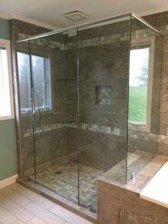 Frameless shower #brittandtilson #asheville #wnc #framelessshowers #custom #shower #bathroom #remodel #glass