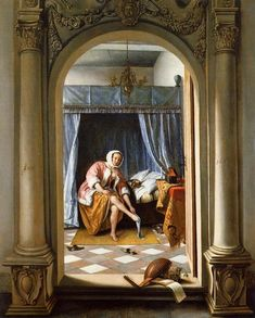 Une femme à sa toilette 1663, coll Reine d'Angl Jan Steen