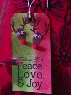 Handmade card/Christmas tag/distress/reindeer