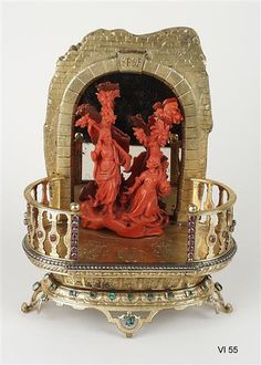 "Georg Christoph Dinglinger (1668-1746), Cabinet ""Noli Me Tangere"". Coral figures: probably Trapani (Sicily), in 1700. Coral, silver, gold, precious stones, mirror glass. H 19.5 cm, W 15.1 cm, D 8,1 cm, platform: B 15.3 cm, D 7.8 cm. Inventory number: VI 55. Green Vault © Staatliche Kunstsammlungen Dresden 2016"