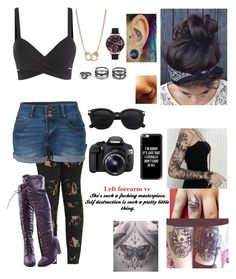 """""""Anastasia Jade Asher - Photographer for AA"""" by jordytheconch ❤ liked on Polyvore featuring LE3NO, Eos, Capelli New York, Olivia Burton, Sugar NY, Lulu*s and Casetify"""