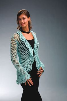 This light and lacy #crochet cardigan is the perfect design for spring. The pastel color is sure to brighten any outfit.