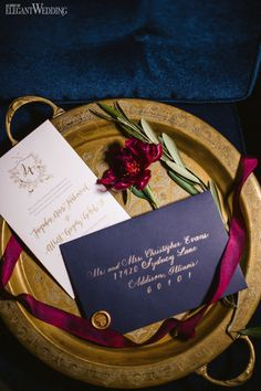 Navy and gold wedding invitations and stationery! TUSCAN ART DECO WEDDING THEME www.elegantwedding.ca