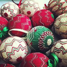 Photo of some vintage smocked balls