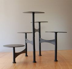 Mid Century Modern Black Metal Articulating candle stand