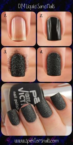 black sparkle nails... would probably put a matte top coat over this to give it a flat look