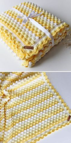 Yellows and whites are neutral and delicate combination of colors, which will be suitable both for girls and boys! Popcorn stitch is fun for babies, because they just love touching it. Bobble Stitch Crochet Blanket, Crochet Baby Blanket Free Pattern, Crochet Quilt, Granny Square Crochet Pattern, Single Crochet Stitch, Popcorn Stitch, Crochet Designs, Crochet Patterns, Crochet Lace Edging