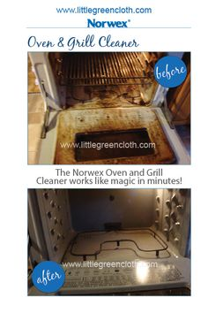 Norwex enzyme-based oven and grill cleaner works in minutes with little effort.