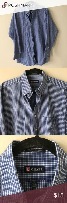 Chaps Blue Checkered Shirt Casual button down shirt in excellent condition. Fabric and size information in third photo. Chaps Shirts Casual Button Down Shirts