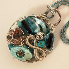 Teal Whimsical Infinity MUSKOKA STONE wire by MuskokaPendants