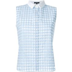 Loveless Contrast Collar Sheer Checked Shirt (1.907.190 IDR) ❤ liked on Polyvore featuring tops, blue, checkered top, sheer blue shirt, contrast collar shirt, checked shirt and see through tops
