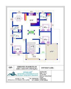 3 bedroom latest home plan with modular kitchen Floor Plan of Budget House 1510 Square feet with 3 Bedrooms, Latest Model villa free plan Bungalow Floor Plans, Home Design Floor Plans, Duplex House Plans, Bungalow House Design, Bedroom House Plans, Dream House Plans, Small House Plans, House Floor Plans, Chettinad House