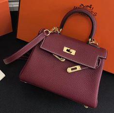 c616bab83b42 Hermes kelly 20cm Togo Calfskin Leather Bag Burgundy