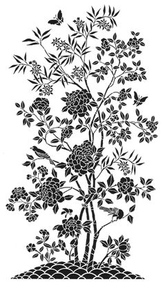 small peony panel no 2 stencils stensils and stencles