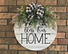 Door Hanger Bless Our Home Sign Wall Hanger Year Round Decoration Farmhouse Spring Arrangement Indoor Outdoor Decor Sign with Greenery Farmhouse Remodel, Farmhouse Style Kitchen, Farmhouse Signs, Farmhouse Decor, Modern Farmhouse, Farmhouse Ideas, Porch Signs, Home Signs, Wooden Door Hangers
