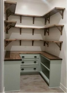 To make the pantry more organized you need proper kitchen pantry shelving. There is a lot of pantry shelving ideas. Here we listed some to inspire you Pantry Shelving, Closet Shelves, Pantry Storage, Shelving Ideas, Pantry Organization, Storage Ideas, Open Shelves, Closet Storage, Diy Storage
