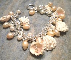 Del's Shells: Seashell Charm Bracelet with Freshwater Pearls