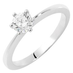 Online Exclusive - Evermore Certified Solitaire Engagement Ring with a 1/2 Carat Diamond in 18ct White Gold