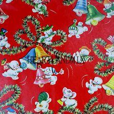 Vintage Christmas Paper Digital Image Wallpaper Snowbabies Bells Download Printable