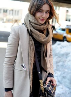 Love the tonal beige and layered scarf look.