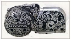Motorcycle Engraving by Steel Tattoos, Engraved Motorcycle Parts, One of the first engravers to engrave motorcycle parts since 1978.