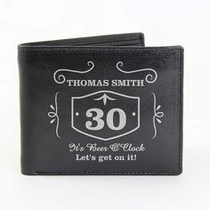 Mens Real Leather Wallet Personalized Tan or Black with notes flap zipped coin pocket card holder slots purse Add age name message Birthday Personalised Leather Wallet, Personalised Gifts For Him, English Characters, Real Leather Wallet, Man Purse, Pocket Cards, Whisky, Gift Tags, Birthday Gifts