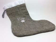 HOPE Linen Christmas Stocking with Embroidery and by RBQuery