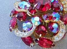 Vintage Red Rhinestone Brooch ruby Red AB by 52ndstreetvintage, $34.00