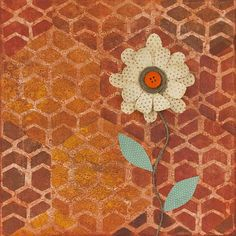 Honeycomb Canvas with Paper Flower -- Bring the handiwork of bees to any wall with paint and stencils.  #decoartprojects