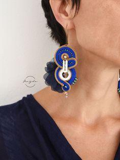 Soutache earrings in blue and hazel, Belive tag earrings, inspirational earrings, mesage earrings, f Circle Earrings, Unique Earrings, Tassel Earrings, Etsy Earrings, Statement Earrings, Drop Earrings, Earrings Handmade, Boho Jewelry, Jewelry Art