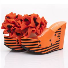 New Womens Wedge Heels Platform Floral Stripe Mules Sandals Shoes Orange US Sz 8