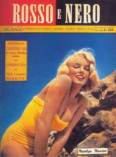 Rosso E Nero - October/November 1954, magazine from Italy. Front cover photo of Marilyn Monroe by Joseph Hepner, 1950.