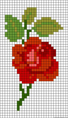 Rose perler bead pattern (also good for cross stitch or cross stitch ON THE WALL you know I'm doing that)