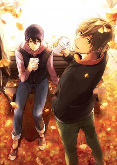 Free! Iwatobi Swim Club - Haru and Makoto :3 WHO DOES ALL THIS BEAUTIFUL ART? It's so pretty Q.Q
