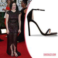 Elisabeth Moss in Stuart Weitzman Nudist Black Ankle-Strap Sandals