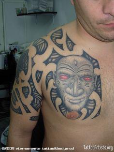 Red Eyes Chestpiece Tattoo Red Eyes, Body Mods, Tribal Tattoos, Skull, Bloodshot Eyes, Body Modifications, Body Art, Skulls, Pink Eyes