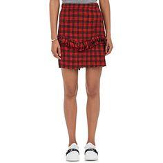 NSF Women's Carmen Cotton Plaid Miniskirt ($195) ❤ liked on Polyvore featuring skirts, mini skirts, red, plaid miniskirts, tartan mini skirt, cotton mini skirt, cotton skirts and red skirts