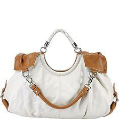 Vicenzo Leather Maselle Italian Leather Tote Handbag Bag (White)