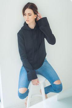 #Dre #hoodie with curved hem, flared sleeves and drawstring hood
