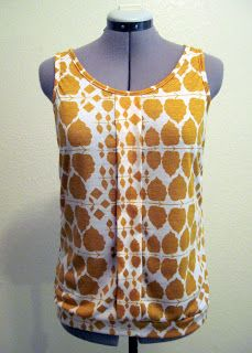 Made By Trisha: Mustard Print Sorbetto (from a knit fabric)