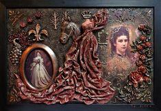 Sissi királynő emlékére Textil-mix kép Tar Ildikó textilszobrász alkotása