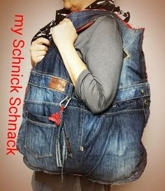 I love it - Bag DIY Upcycling Jeans  duza torebka z dzinsow