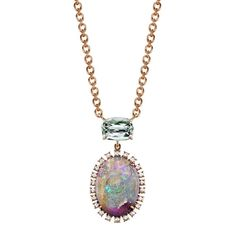 Irene Neuwirth rose gold one-of-a-kind necklace with green tourmaline, Lightning Ridge opal and diamonds