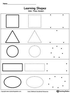 Learning Basic Shapes: Color, Trace, and Connect Learn the basic shapes by coloring, tracing, connecting the dots and finally drawing each shape with My Teaching Station printable Learning Basic Shapes worksheet. Pre K Worksheets, Shapes Worksheets, Printable Worksheets, Printable Shapes, Toddler Worksheets, Nursery Worksheets, Free Kindergarten Worksheets, Alphabet Worksheets, Preschool Learning Activities