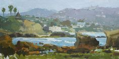 """""""Incoming Tide in Laguna,"""" by Kim VanDerHoek, oil on canvas panel, 8 x 16 in. Artist Jeanne Mackenzie explains why this painting works at http://www.outdoorpainter.com/news/why-this-works-correct-values-in-the-distance-balance-of-large-shapes.html"""