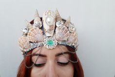 Hello fellow shopper, This listing is for one Mermaid Crown LARGE: From the Sea to the Moon made with love and care. Each Shell Headband is unique and no two headbands are made the same.  My pricing is fair because I am still trying to earn sales. I started my shop a little while ago but just now came back to it to hopefully get things going and sell my handcrafted items to everyone. I enjoy making beautiful accessories for my shoppers and I hope you consider my shop for your accessory…