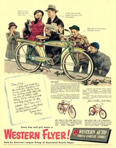 A place to display vintage bicycle ads and catalog pages. Vintage Toys 1960s, Vintage Bicycles, Vintage Ads, Vintage Posters, Old Advertisements, Retro Advertising, Bicycle Art, Bicycle News, Bicycle Brands