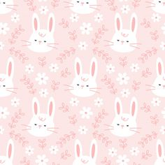 Cute bunny with flowers and leaf seamles. Flower Background Design, Floral Print Background, Kawaii Background, Background Patterns, Cute Pastel Wallpaper, Cute Patterns Wallpaper, Pink Wallpaper, Vector Pattern, Pattern Art